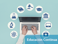 Laptop rodeada por símbolos de aprendizaje. Educación continua
